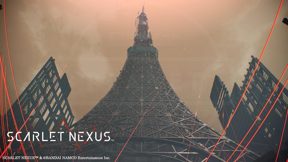 SCARLET NEXUS(スカーレットネクサス) 全高3,000mにも及ぶ『怪異討伐軍本部』後ろにそびえる鉄塔スクリーンショット