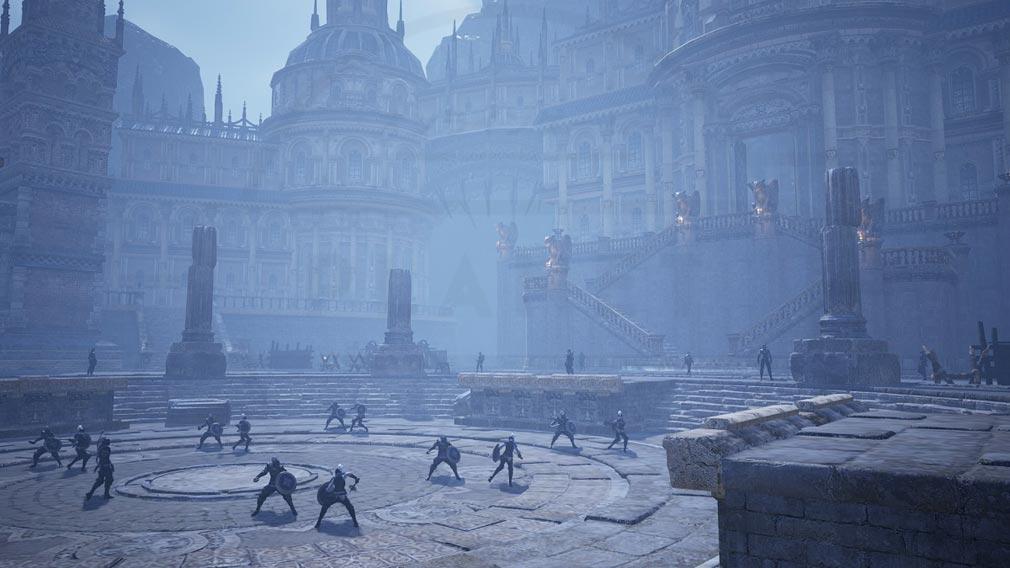 BLESS UNLEASHED PC(ブレスアンリーシュド) 『テルニー地域』の城の正面では鍛錬に余念がない兵士たちスクリーンショット