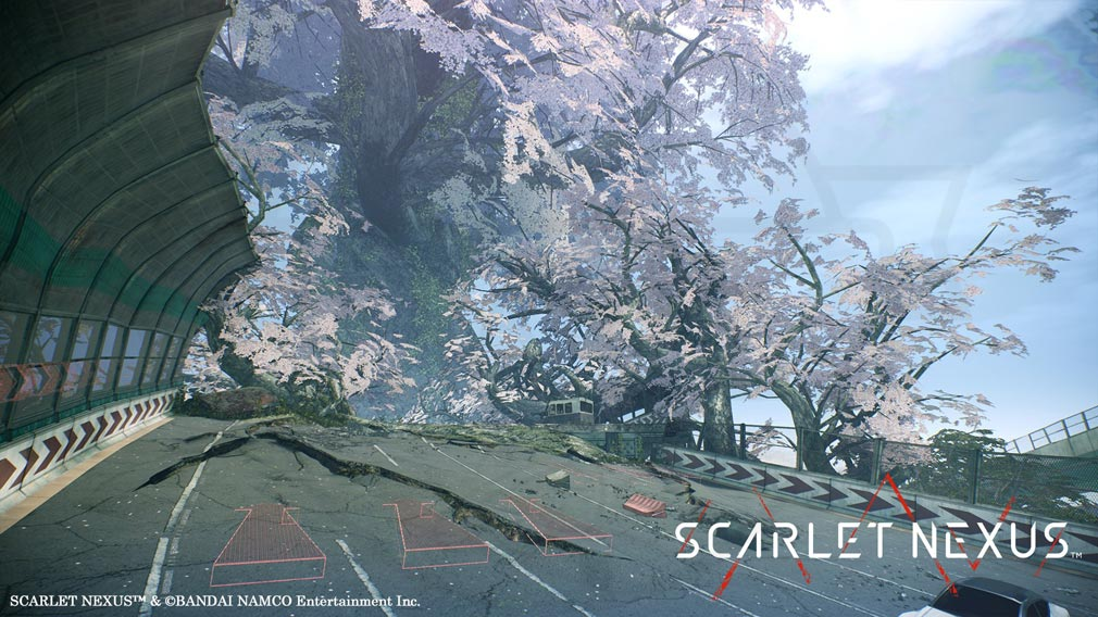 SCARLET NEXUS(スカーレットネクサス) 原因不明の異常成長を遂げた桜などの植物が崩壊した路面に絡みつく『クナド高速輸送道路』スクリーンショット