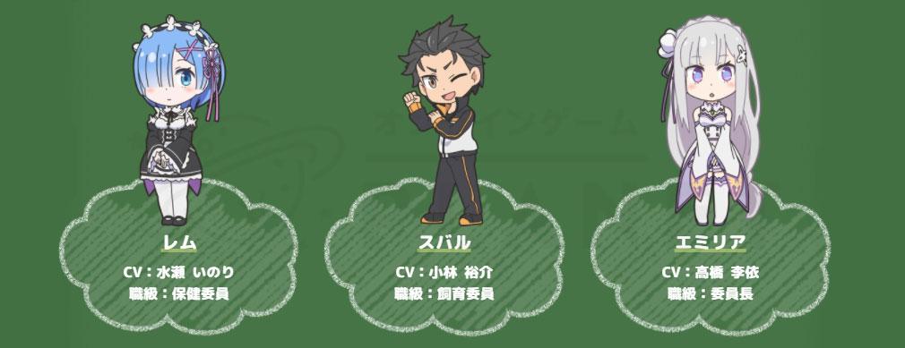 異世界かるてっと 激突!ぱずるすくーる(いせぱず) 『Re:ゼロ』キャラクター紹介イメージ