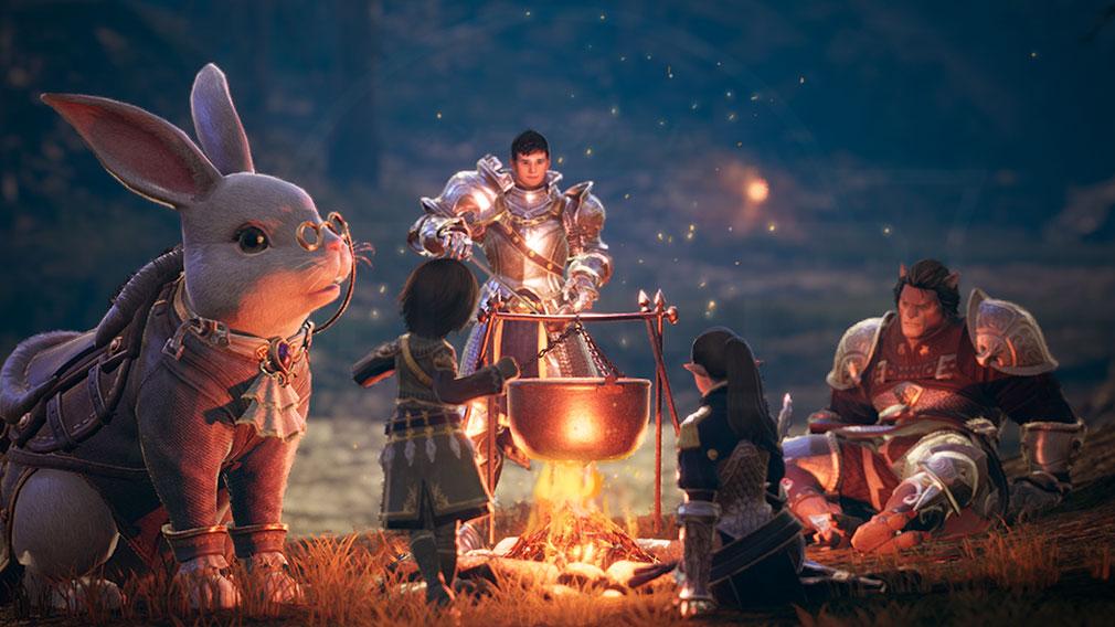 BLESS UNLEASHED PC(ブレスアンリーシュド) 焚き火を囲んで料理を振る舞うスクリーンショット
