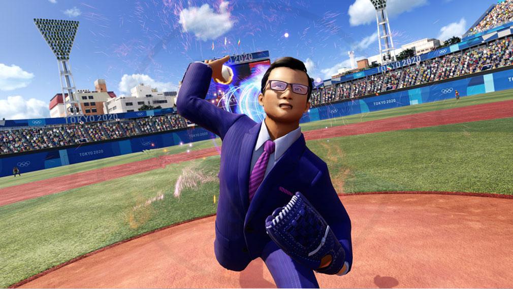 東京2020オリンピック The Official Video Game TM スーツを着て野球を行うスクリーンショット