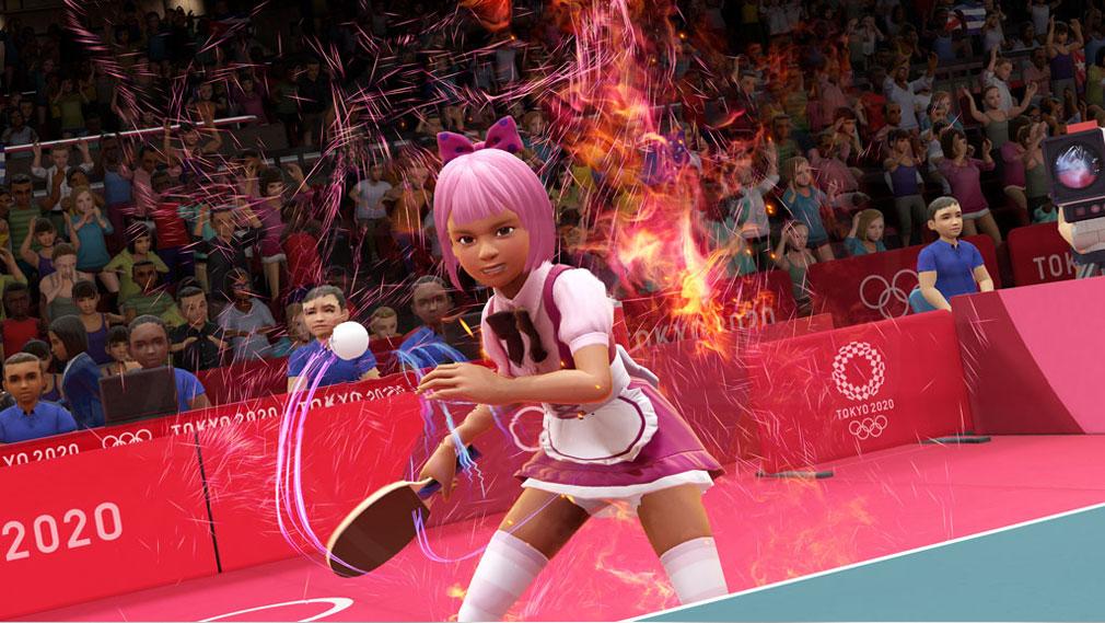 東京2020オリンピック The Official Video Game TM メイド服を着て卓球を行うスクリーンショット