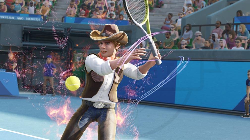 東京2020オリンピック The Official Video Game TM カウボーイの衣装でテニスするスクリーンショット