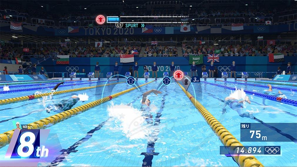 東京2020オリンピック The Official Video Game TM ボタンを押す操作スクリーンショット