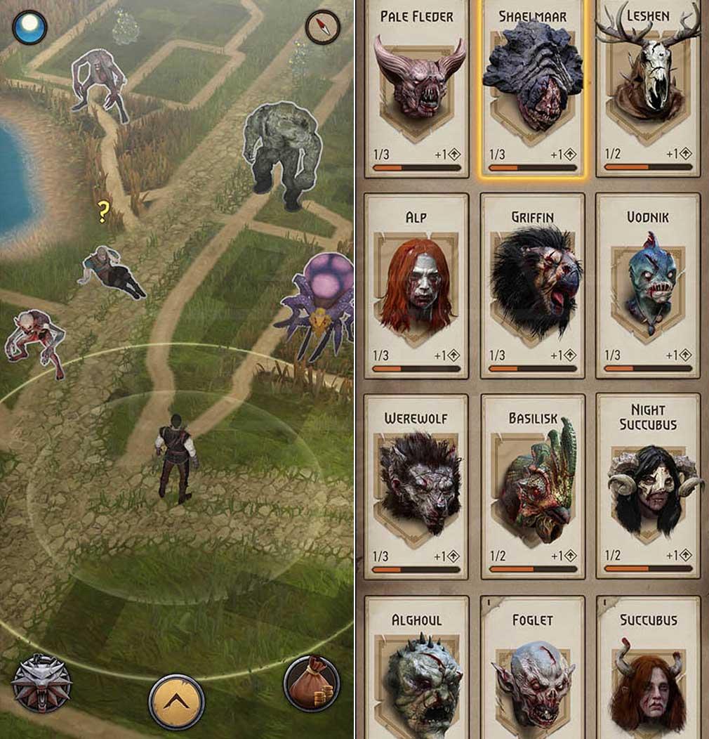 ウィッチャー モンスタースレイヤー(The Witcher Monster Slayer) GPS(位置情報システム)を利用した周囲、怪物たち紹介イメージ