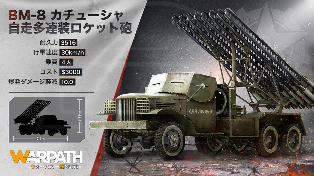 WARPATH 武装都市 戦車『BM-8カチューシャ自走多連装ロケット砲』紹介イメージ