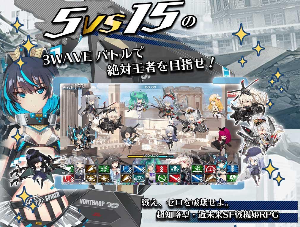 ブレイクゼロディメンション/BREAK ZERO DIMENSION 空戦乙女(BZD) 5vs15の3WAVEバトル紹介イメージ