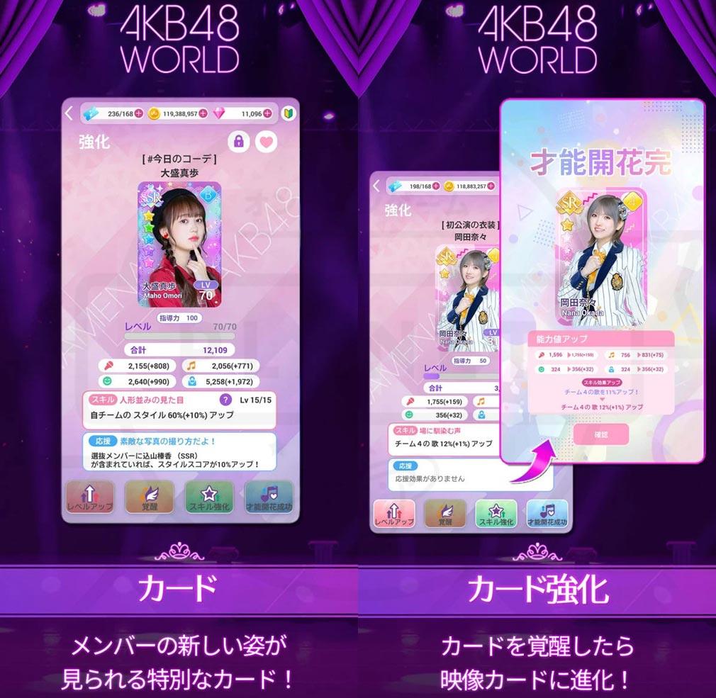 AKB48 WORLD 『カード』、『カード強化』紹介イメージ
