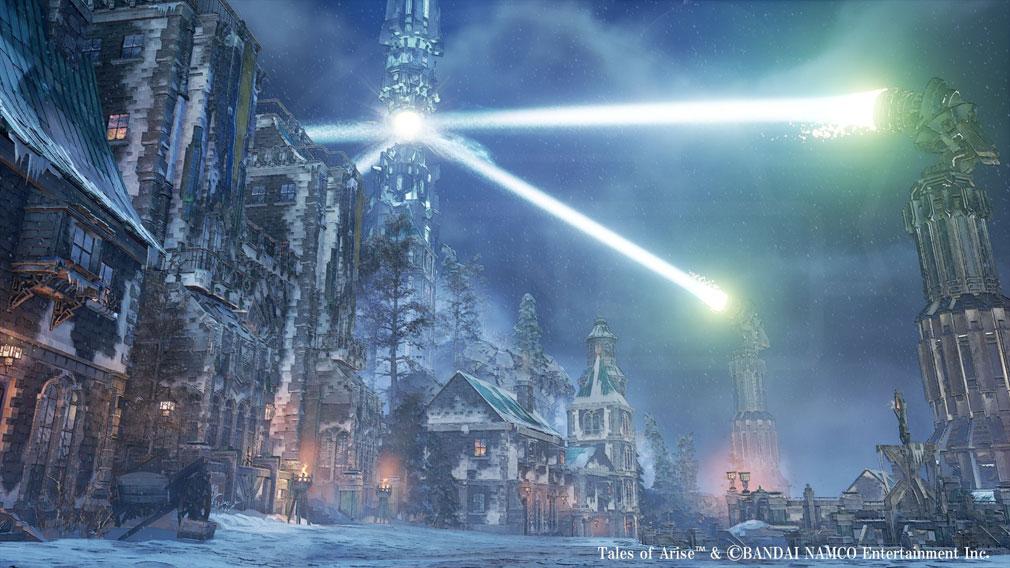 Tales of ARISE(テイルズ オブ アライズ) ダナ人たちの労役によって作り出される人工の光が見える『シスロディア』スクリーンショット