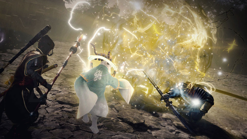 仁王2 Complete Edition 白澤の守護霊技により敵に触れると大きな爆発を起こす雷球を放つスクリーンショット