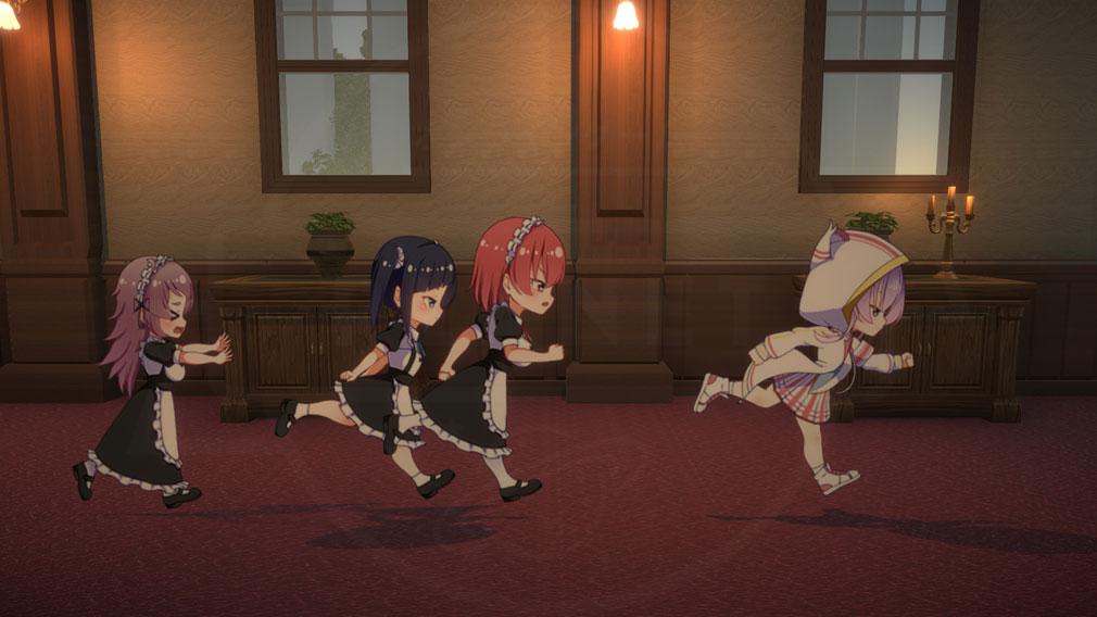 怪盗ミューのシークレットプリマ 可愛いキャラ達が洋館を走る姿スクリーンショット