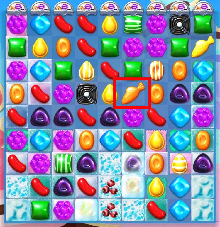 キャンディークラッシュソーダ 『キャンディーフィッシュ』は正方形に同色のキャンディーを揃えると作り出せる