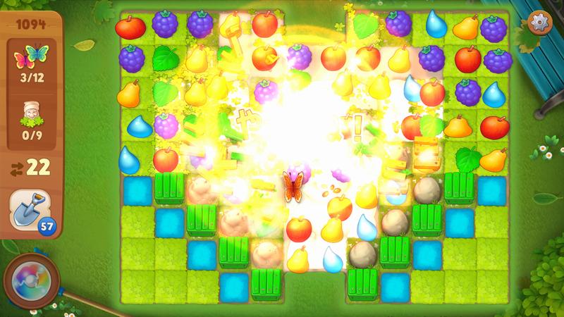 ガーデンスケイプ (Gardenscapes) ピースを4つ以上並べると爆弾に変化