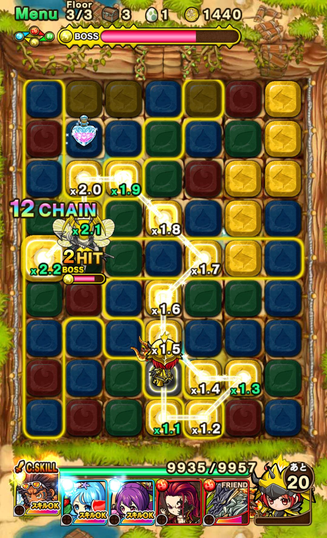 ポコロンダンジョンズ(ポコダン) プレイヤーの戦略が求められる『なぞりパズル』