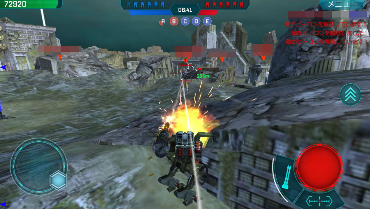 War Robots(WR) 基本操作は画面上のバーチャルスティック